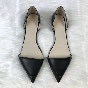 Zara Basic d'Orsay Pointed Black Leather Flats 39